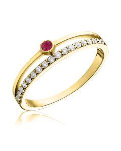 Кольцо с рубином и дорожкой фианитов «Minimal»