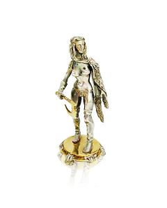 """Серебряная статуэтка с позолотой """"Обнажённая скандинавка"""""""