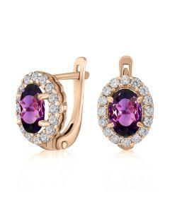 Золотые серьги с александритом «Purple delight»