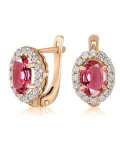Золотые серьги с розовой шпинелью «Pink delight»