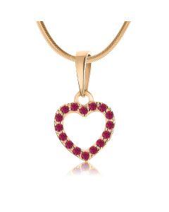 Золотой кулон в форме сердечка с рубинами «Loving»