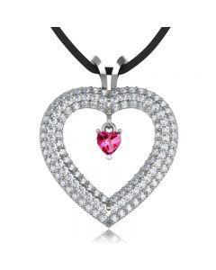 Золотой кулон-сердце с рубином и цирконами «Icy heart»