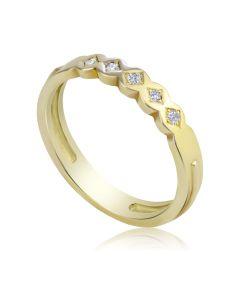 Золота обручка з доріжкою діамантів «Ніжність»