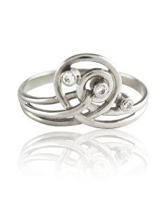 Золотое кольцо с цирконом Swarovski «Спираль-II»