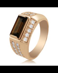 Золотой мужской перстень с раухтопазом