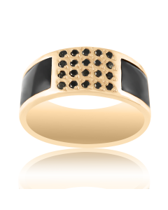 Золоте кільце з чорними діамантами «Денді»