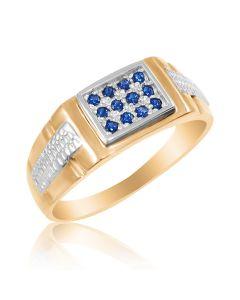 Золотой мужской перстень с сапфиром