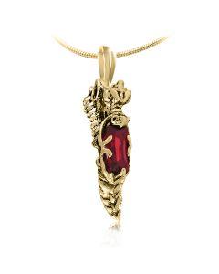 Золотий кулон з рубіном «Серце дракона»