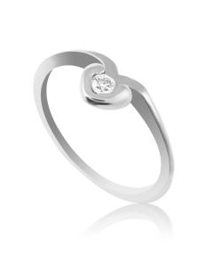 Колечко на заручини золоте з діамантом 0,07 «My Heart»