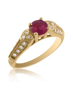 Золотое кольцо с рубином «Белое сердце»