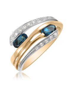 Золотое кольцо с синим топазом