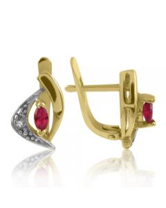 Золотые серьги с рубинами «Алиша»