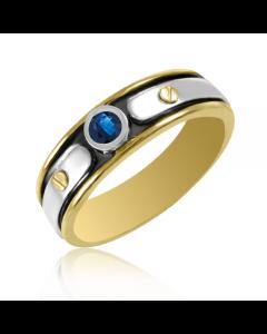 Золотое мужское кольцо с сапфиром