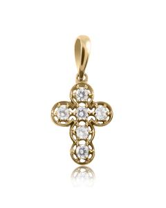 Золотий кулон хрестик с фіанітами «Ніколь»