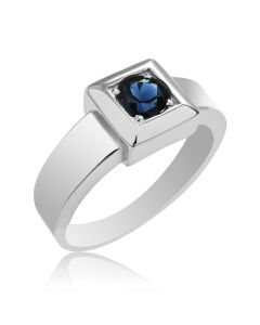 Мужское кольцо с сапфиром белое золото