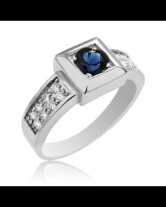 Золотой мужской перстень с сапфиром и бриллиантами