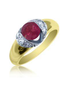 Перстень з рубіном і діамантами