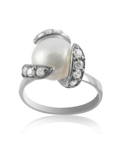 Перстень з великою перлиною і фіанітами «Шум прибою»