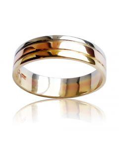 Золотое обручальное кольцо «Трио Радуга»