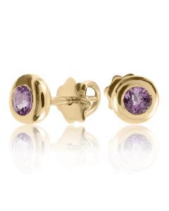 Золоті сережки з аметистами «Солодка ягода»