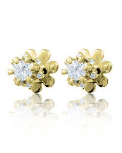 Золотые пусеты с бриллиантами 0.30 ct «Flora»