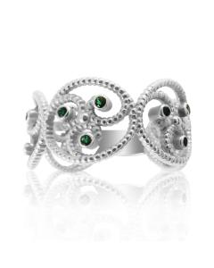 Золотое кольцо с изумрудами «Уникальная»