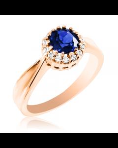 Золотое кольцо с сапфиром 1 Ct и бриллиантами «Gioiello della Natura»