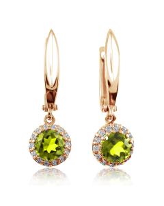 Золоті сережки з підвісками з хризолітів «Gioiello della Natura»