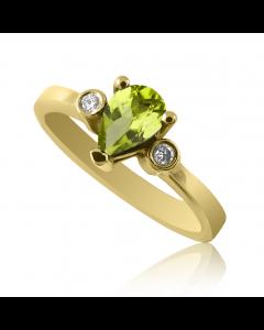Золотое кольцо c хризолитом «Mistery»