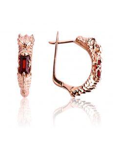 Золотые серьги с гранатом «Сердце дракона»