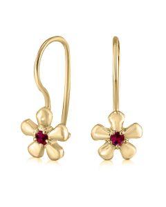 Серьги золотые с рубинами для девочки  «Миленькие»