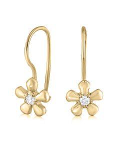 Серьги золотые с маленькими бриллиантами для девочки  «Миленькие»