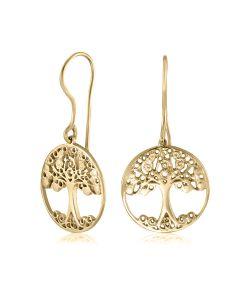 Сережки золоті без каменів «Дерево життя»