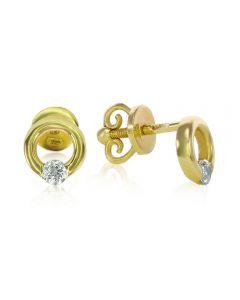 Золотые серьги  колечки с фианитами «Marion»