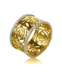 Обручальное широкое кольцо из ажурного золота «Desire»
