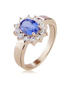Золотое кольцо с сапфиром и Swarovski «Королевская помолвка»