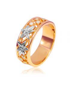 Обручальное кольцо из золота  с цирконием «Две звезды»