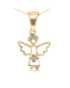 Золотой кулон ангелочек с бриллиантами «Gentle angel»