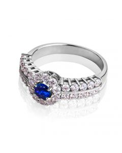 Перстень женский с сапфиром «Сон Снежной Королевы»