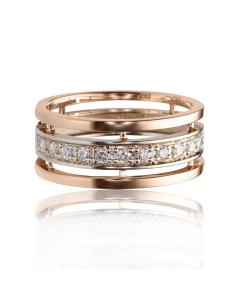 Золотое обручальное кольцо с бриллиантами «Идеал»