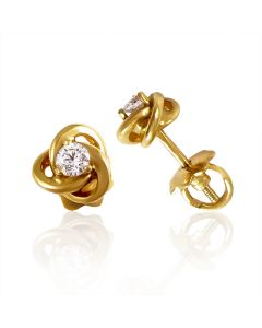Сережки гвоздики з цирконієм в центрі троянди «Витончений стиль»