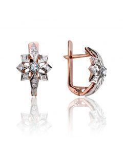 Золотые серьги с кристаллами Swarovski «Сияние звезд»