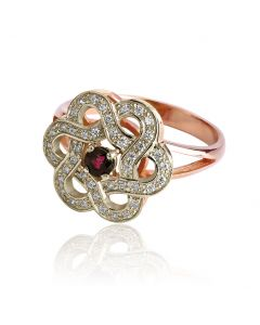 Золотий жіночий перстень з рубіном «Сніжна квітка»