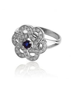 Золотой женский перстень с сапфиром и Сваровски «Снежный цветок»
