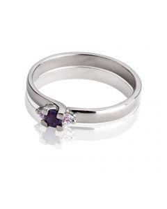 Женское кольцо с сапфиром и бриллиантами «Королевский стиль»