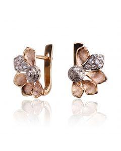 Золоті сережки у вигляді квітки «Золоті пелюстки»