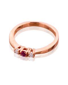 Золота каблучка для пропозиції з рубіном та діамантами «Танюша»