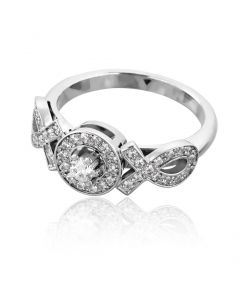 Золота каблучка з діамантами «Ідеал»