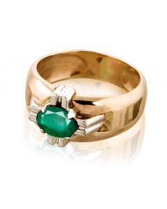 Золотой перстень с изумрудом «Рыцарский орден»
