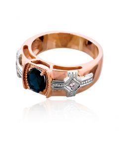 """Золоте чоловіче кольцо з сапфіром """"Королівська печатка»"""